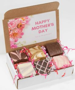 A gift box with six, 4oz pieces of fudge in the following flavors: Amaretto Chocolate, Cappuccino, Chocolate, Lemon Lavender, Dark Chocolate Raspberry Truffle, and Strawberry Champagne.